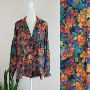 VTG 70's Cali Abstract Boho Print Blouse